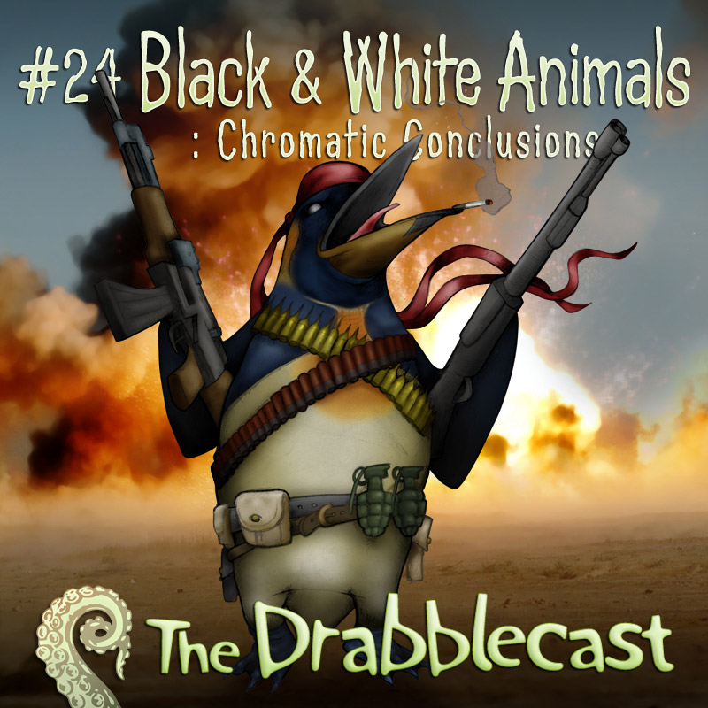 Cover for Drabblecast episode 24, Black and White Animals 3, by Bo Kaier
