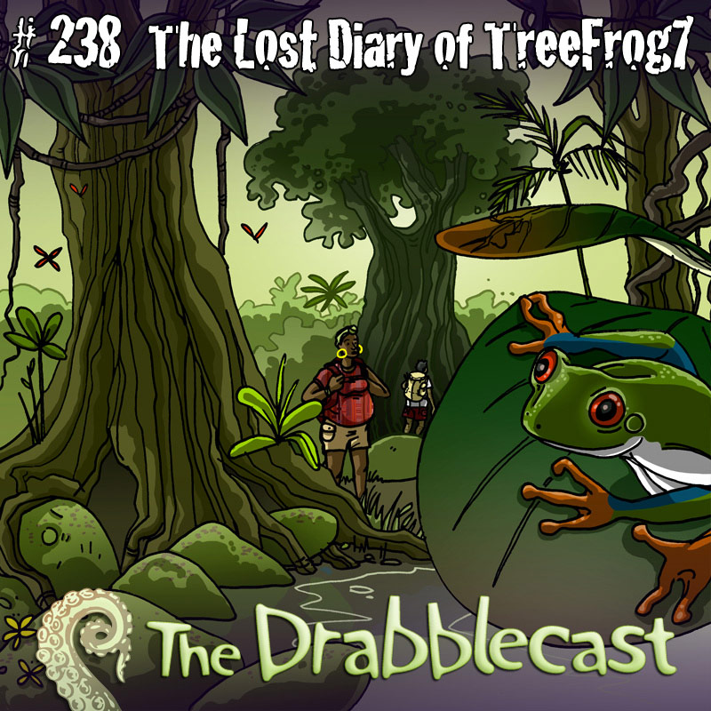 Cover for Drabblecast episode 238, The Lost Diary of TreeFrog7, by Caroline Parkinson