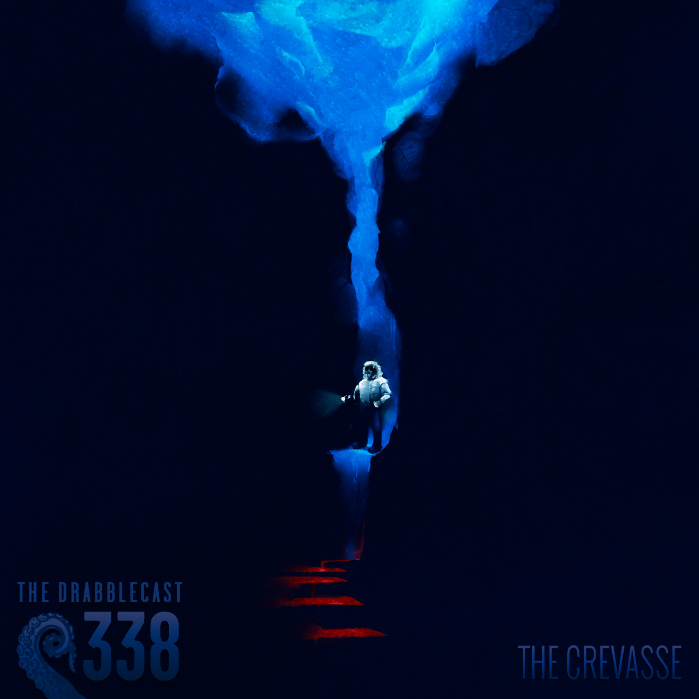Cover for Drabblecast episode 338, The Crevasse, by Hannah Holloway