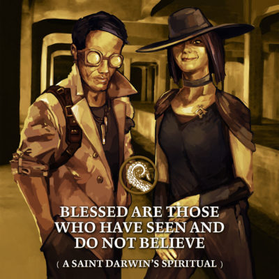 Cover for Drabblecast B-Sides episode 69 by Bo Kaier Blessed Are Those Who Have Seen and Do Not Believe (A Saint Darwin's Spiritual)
