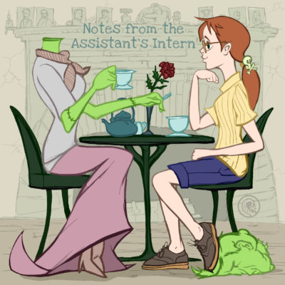 Drabblecast cover by Bo Kaier for Notes from the Assistant's Intern